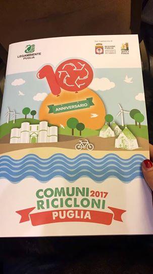 Comuni Ricicloni, premiati da Legambiente Puglia i Comuni virtuosi
