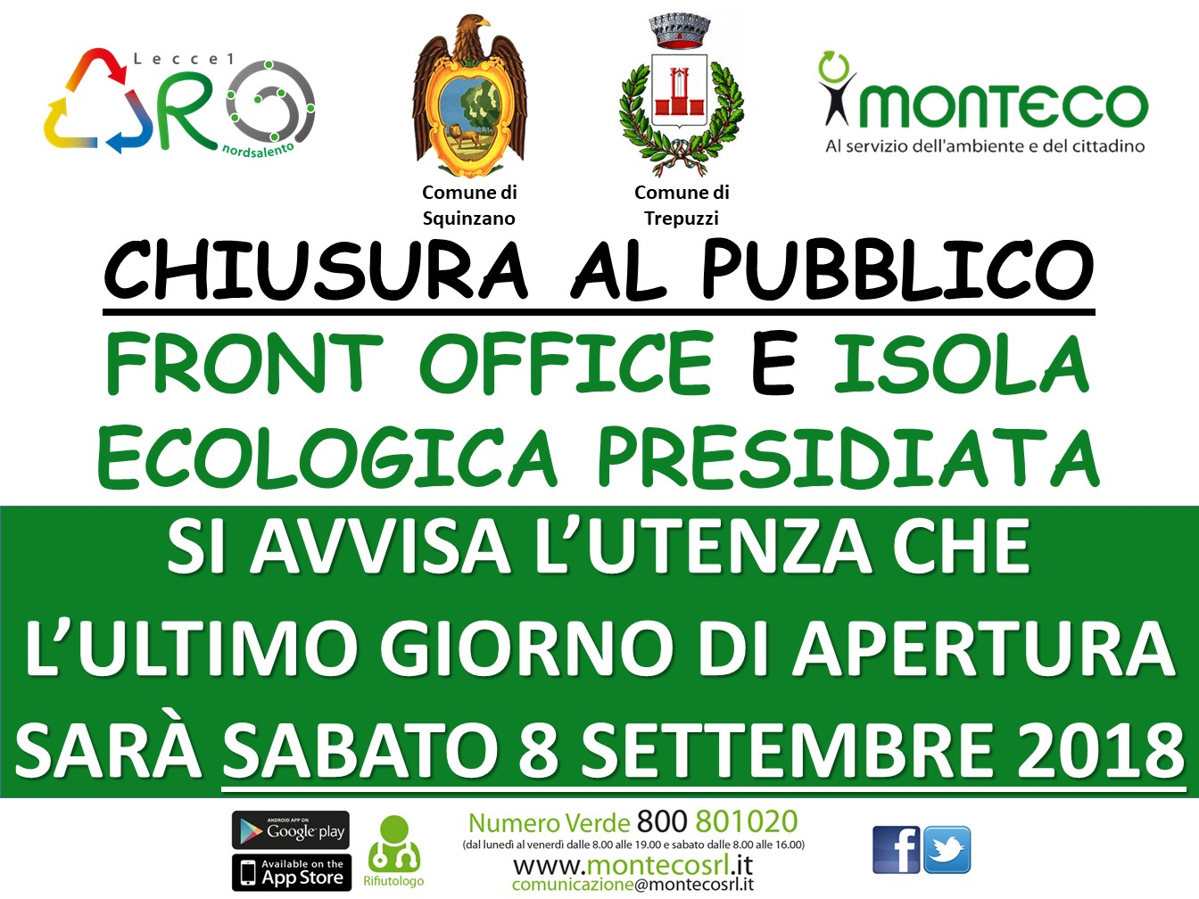 Casalabate - Chiusura Front Office e Isola Ecologica Presidiata