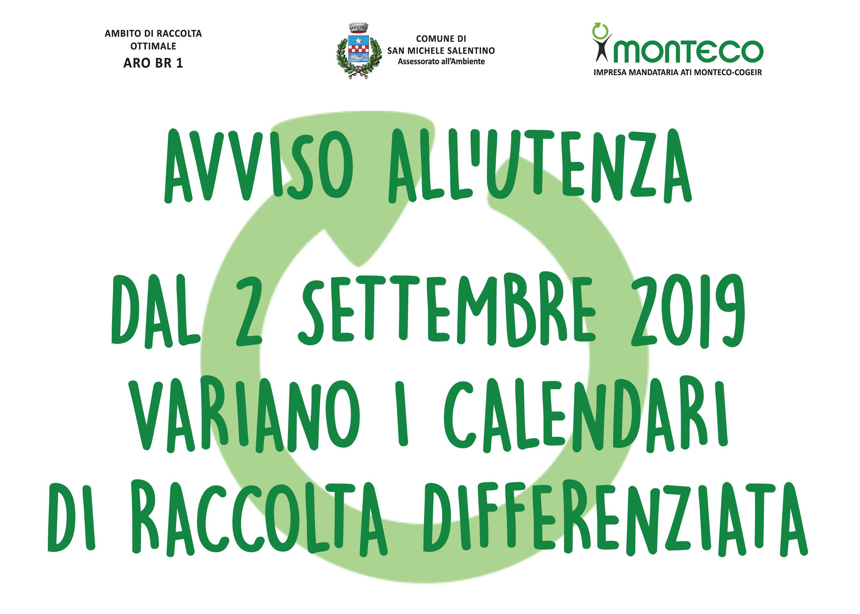 San Michele Salentino. Dal 2 settembre variano i calendari di raccolta differenziata