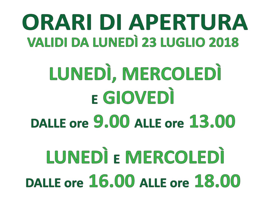 Lecce - Orari Front Office dal 23 luglio 2018